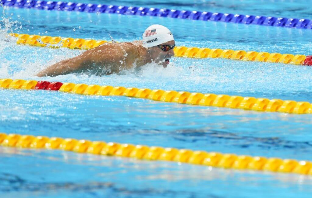 Jul 29, 2021; Tokyo, Japan; Caeleb Dressel (USA) in the men's 100m butterfly heats during the Tokyo 2020 Olympic Summer Games at Tokyo Aquatics Centre. Mandatory Credit: Grace Hollars-USA TODAY Sports