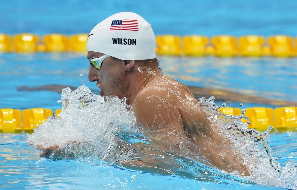 Jul 29, 2021; Tokyo, Japan; Andrew Wilson (USA) in the mixed 4x100m medley heats during the Tokyo 2020 Olympic Summer Games at Tokyo Aquatics Centre. Mandatory Credit: Grace Hollars-USA TODAY Sports