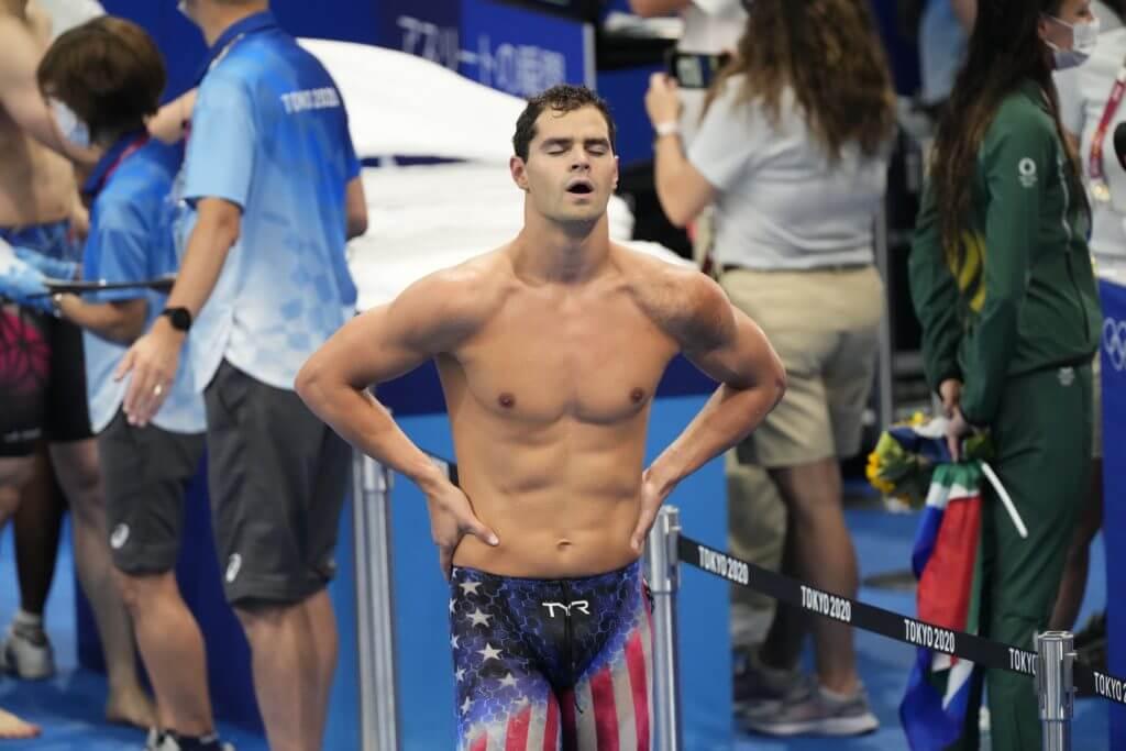 Jul 30, 2021; Tokyo, Japan; Michael Andrew (USA) after the men's 200m individual medley final during the Tokyo 2020 Olympic Summer Games at Tokyo Aquatics Centre. Mandatory Credit: Rob Schumacher-USA TODAY Sports