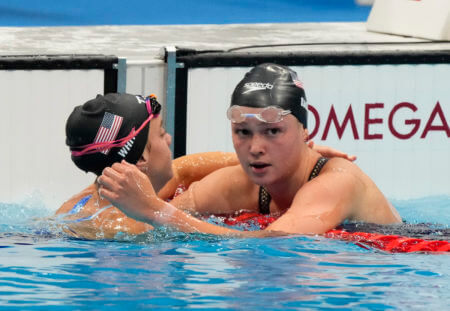 Jul 31, 2021; Tokyo, Japan; Phoebe Bacon (USA) and Rhyan White (USA) react after the women's 200m backstroke final during the Tokyo 2020 Olympic Summer Games at Tokyo Aquatics Centre. Mandatory Credit: Rob Schumacher-USA TODAY Sports