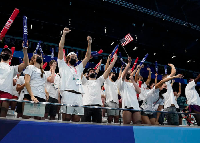 Jul 31, 2021; Tokyo, Japan; Team USA cheers during the morning swimming session during the Tokyo 2020 Olympic Summer Games at Tokyo Aquatics Centre. Mandatory Credit: Rob Schumacher-USA TODAY Sports