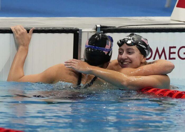 Jul 28, 2021; Tokyo, Japan; Alex Walsh (USA) and Kate Douglass (USA) celebrate after placing second and third in the women's 200m individual medley final during the Tokyo 2020 Olympic Summer Games at Tokyo Aquatics Centre. Mandatory Credit: Rob Schumacher-USA TODAY Sports