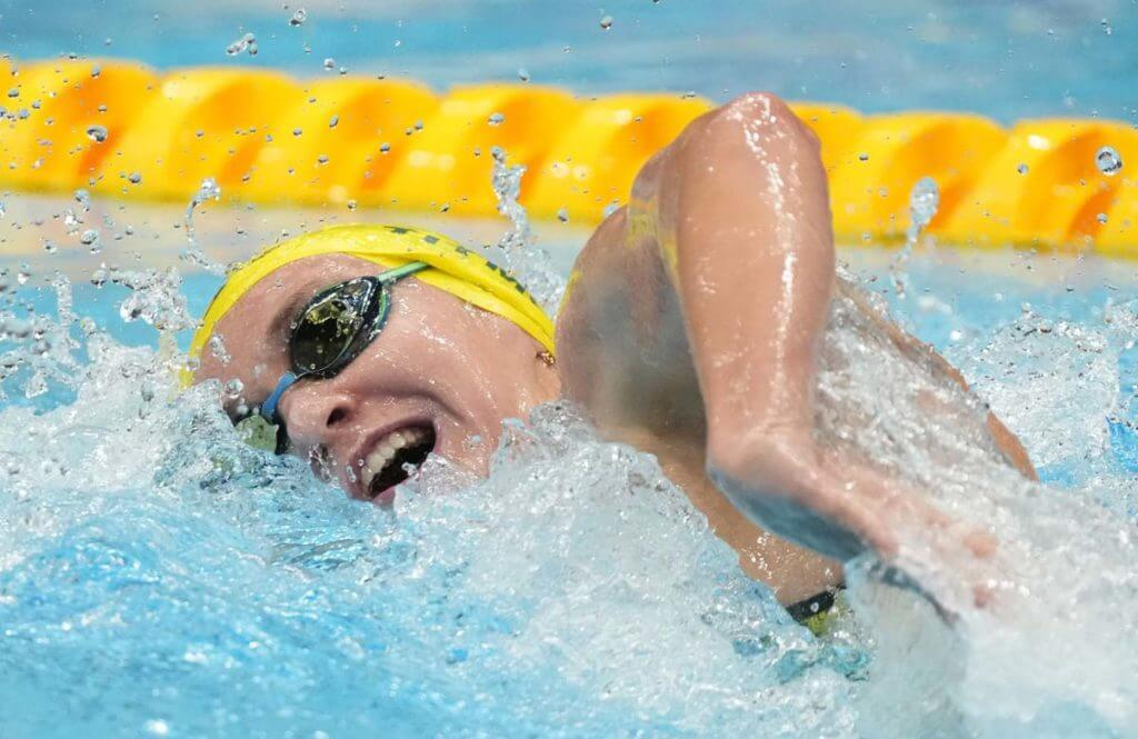 Jul 27, 2021; Tokyo, Japan; Ariarne Titmus (AUS) in the women's 200m freestyle heats during the Tokyo 2020 Olympic Summer Games at Tokyo Aquatics Centre. Mandatory Credit: Rob Schumacher-USA TODAY Sports