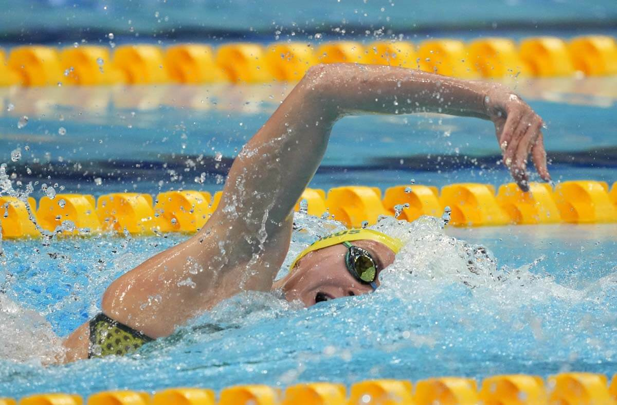 Jul 25, 2021; Tokyo, Japan; Ariarne Titmus (AUS) in the women's 400m freestyle heats during the Tokyo 2020 Olympic Summer Games at Tokyo Aquatics Centre. Mandatory Credit: Rob Schumacher-USA TODAY Sports