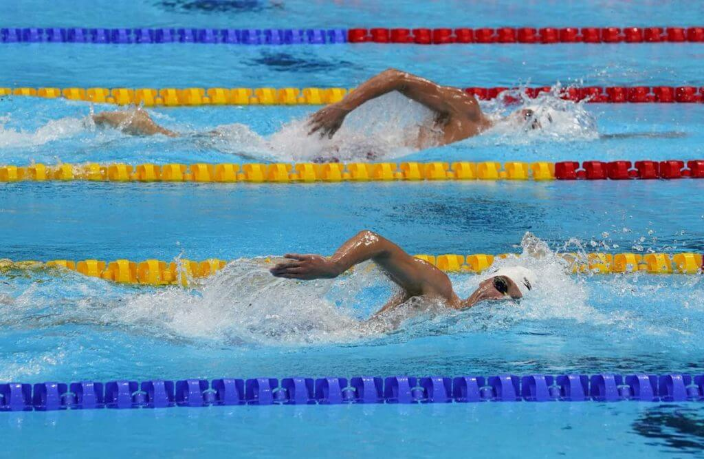 Jul 30, 2021; Tokyo, Japan; in the men's 1500m freestyle heats during the Tokyo 2020 Olympic Summer Games at Tokyo Aquatics Centre. Mandatory Credit: Rob Schumacher-USA TODAY Sports