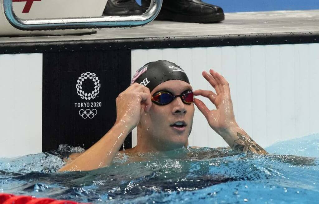 Jul 31, 2021; Tokyo, Japan; Caeleb Dressel (USA) after the men's 50m freestyle semifinals during the Tokyo 2020 Olympic Summer Games at Tokyo Aquatics Centre. Mandatory Credit: Rob Schumacher-USA TODAY Sports