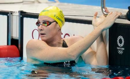 Jul 28, 2021; Tokyo, Japan; Cate Campbell (AUS) after the women's 100m freestyle heats during the Tokyo 2020 Olympic Summer Games at Tokyo Aquatics Centre. Mandatory Credit: Grace Hollars-USA TODAY Sports
