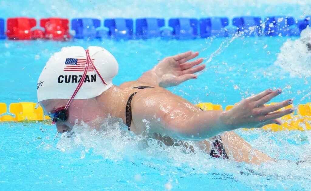 Jul 24, 2021; Tokyo, Japan; Claire Curzan (USA) during the women's 100m butterfly heats during the Tokyo 2020 Olympic Summer Games at Tokyo Aquatics Centre. Mandatory Credit: Rob Schumacher-USA TODAY Network
