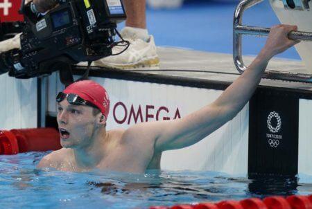 Jul 28, 2021; Tokyo, Japan; Duncan Scott (GBR) reacts after the men's 200m individual medley heats during the Tokyo 2020 Olympic Summer Games at Tokyo Aquatics Centre. Mandatory Credit: Grace Hollars-USA TODAY Sports