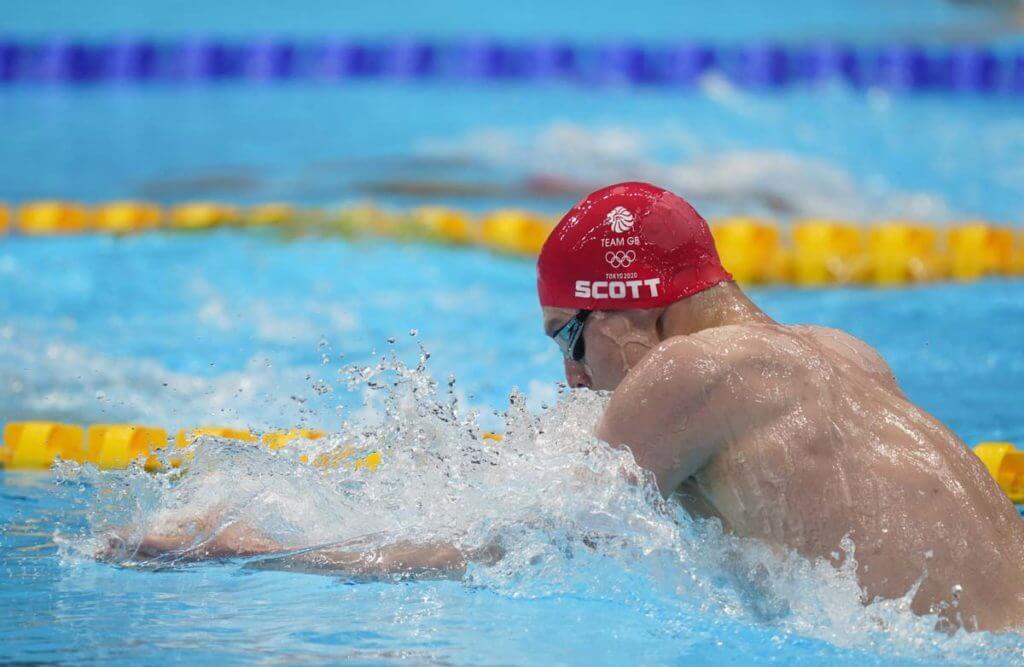 Jul 28, 2021; Tokyo, Japan; Duncan Scott (GBR) in the men's 200m individual medley heats during the Tokyo 2020 Olympic Summer Games at Tokyo Aquatics Centre. Mandatory Credit: Grace Hollars-USA TODAY Sports