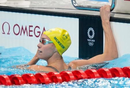 Jul 28, 2021; Tokyo, Japan; Emma McKeon (AUS) after the women's 100m freestyle heats during the Tokyo 2020 Olympic Summer Games at Tokyo Aquatics Centre. Mandatory Credit: Grace Hollars-USA TODAY Sports