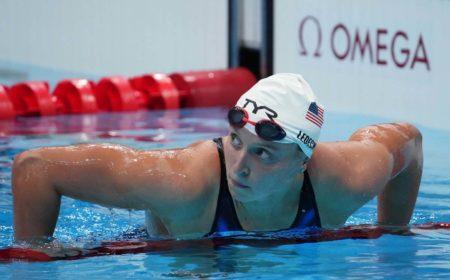 Jul 26, 2021; Tokyo, Japan; Katie Ledecky (USA) after the women's 200m freestyle heats during the Tokyo 2020 Olympic Summer Games at Tokyo Aquatics Centre. Mandatory Credit: Robert Hanashiro-USA TODAY Sports