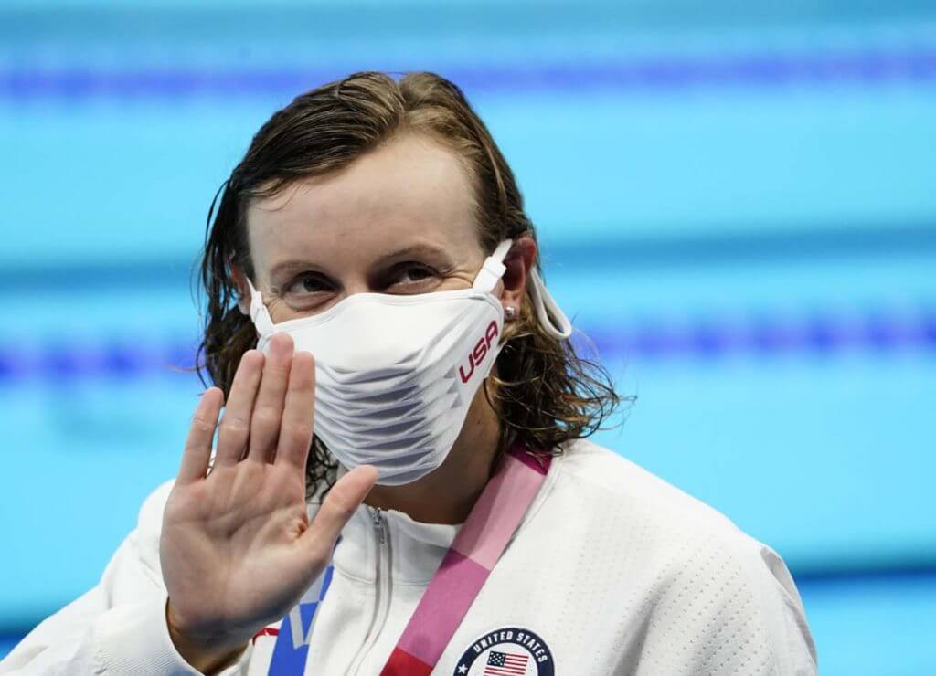 Jul 26, 2021; Tokyo, Japan; Katie Ledecky (USA) during the medals ceremony for the women's 400m freestyle during the Tokyo 2020 Olympic Summer Games at Tokyo Aquatics Centre. Mandatory Credit: Robert Hanashiro-USA TODAY Sports