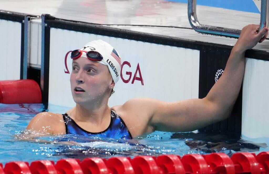 Jul 25, 2021; Tokyo, Japan; Katie Ledecky (USA) after the women's 400m freestyle heats during the Tokyo 2020 Olympic Summer Games at Tokyo Aquatics Centre. Mandatory Credit: Robert Hanashiro-USA TODAY Sports