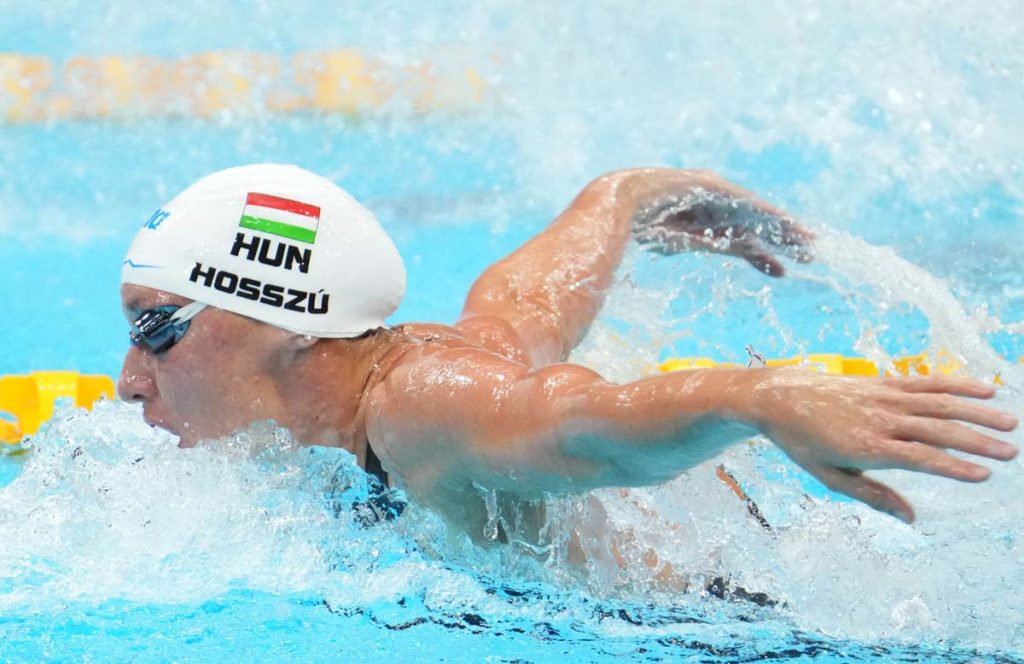 Jul 24, 2021; Tokyo, Japan; Katinka Hosszu (HUN) during the women's 400m individual medley heats during the Tokyo 2020 Olympic Summer Games at Tokyo Aquatics Centre. Mandatory Credit: Robert Hanashiro-USA TODAY Network