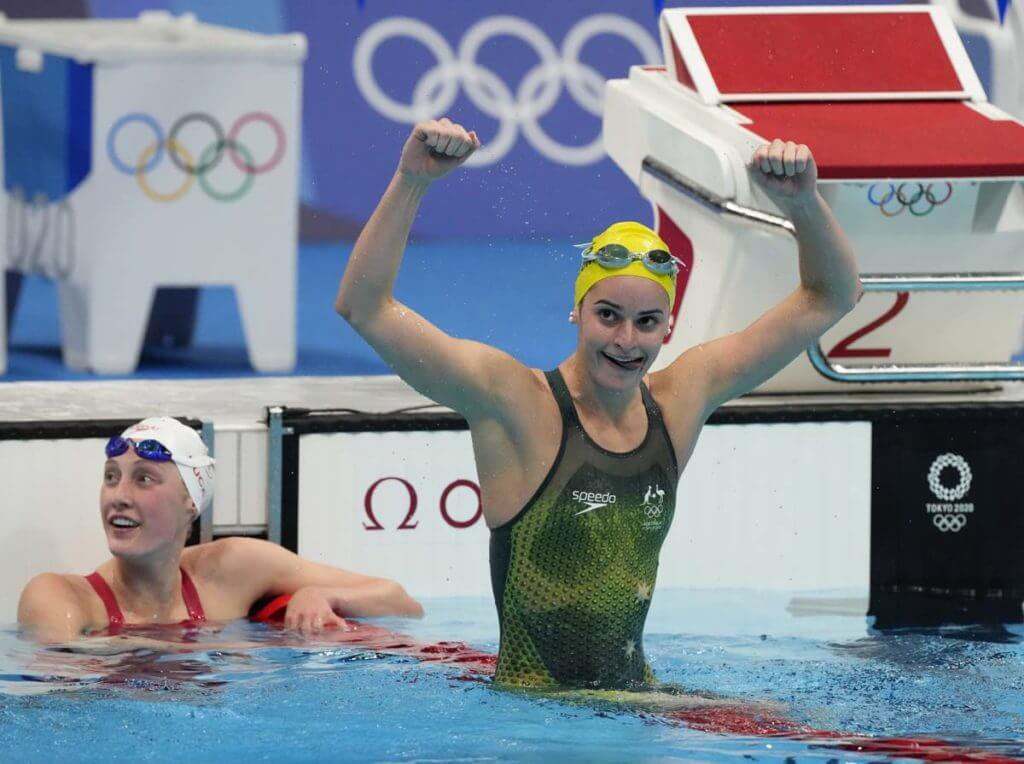 Jul 31, 2021; Tokyo, Japan; Kaylee McKeown (AUS) celebrates after winning the women's 200m backstroke final during the Tokyo 2020 Olympic Summer Games at Tokyo Aquatics Centre. Mandatory Credit: Rob Schumacher-USA TODAY Sports - swimmers