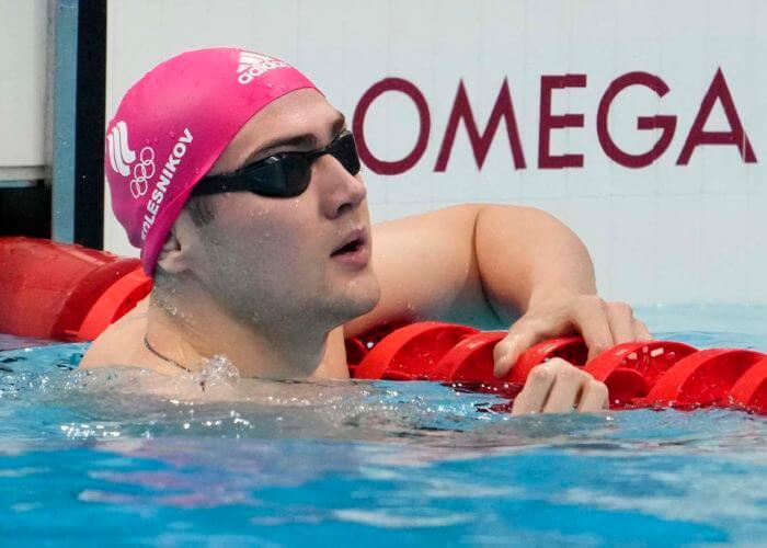 Jul 25, 2021; Tokyo, Japan; Kliment Kolesnikov (ROC) in the men's 100m backstroke heats during the Tokyo 2020 Olympic Summer Games at Tokyo Aquatics Centre. Mandatory Credit: Rob Schumacher-USA TODAY Sports