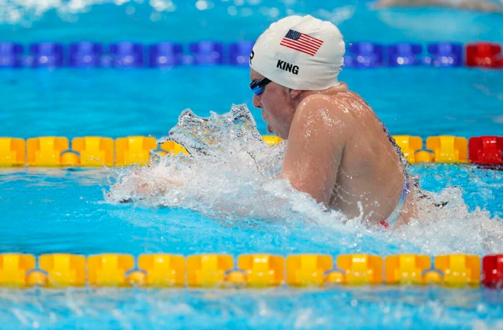 Jul 30, 2021; Tokyo, Japan; Lilly King (USA) in the women's 4x100m medley relay heats during the Tokyo 2020 Olympic Summer Games at Tokyo Aquatics Centre. Mandatory Credit: Grace Hollars-USA TODAY Sports