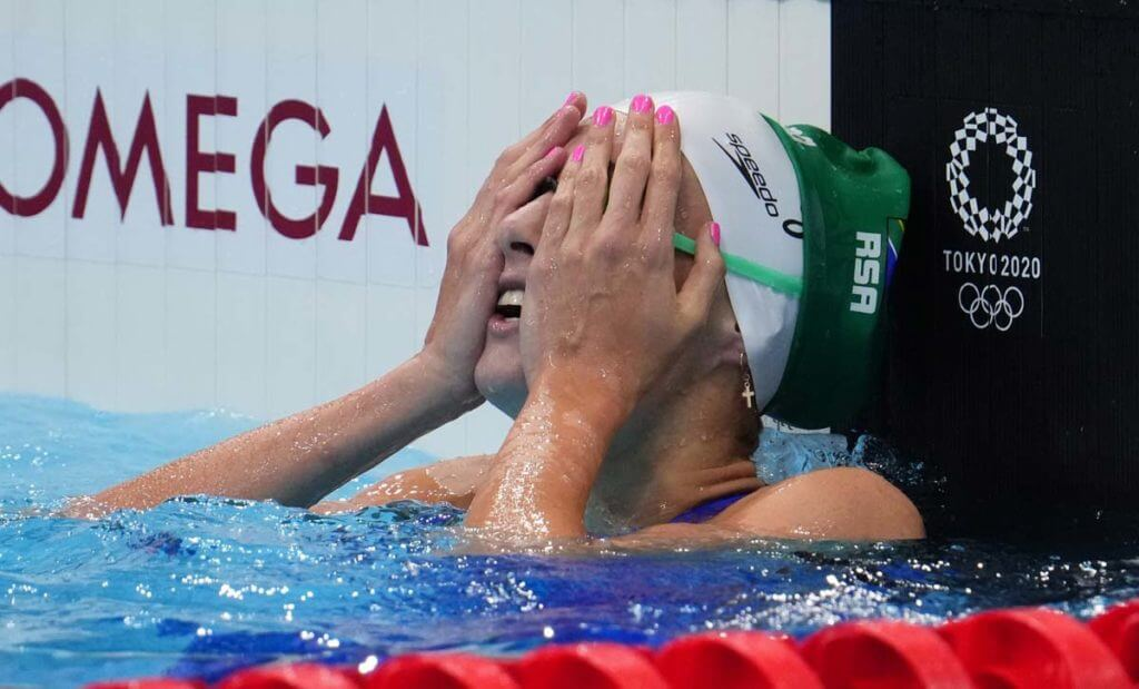 Jul 25, 2021; Tokyo, Japan; Tatjana Schoenmaker (RSA) reacts after the women's 100m breaststroke heats during the Tokyo 2020 Olympic Summer Games at Tokyo Aquatics Centre. Mandatory Credit: Robert Hanashiro-USA TODAY Sports