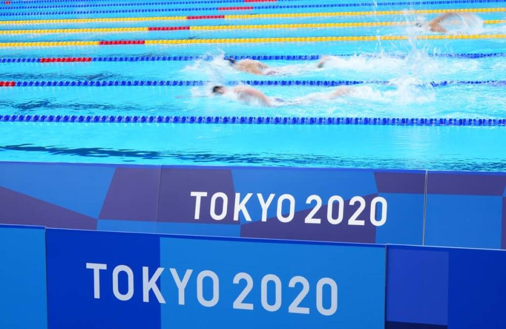 Jul 27, 2021; Tokyo, Japan; A general view during heat one of the men's 4x200m freestyle relay heats during the Tokyo 2020 Olympic Summer Games at Tokyo Aquatics Centre. Mandatory Credit: Robert Hanashiro-USA TODAY Sports