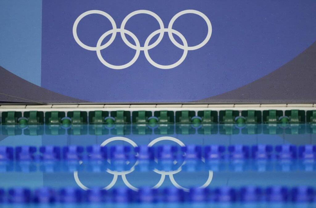 Jul 25, 2021; Tokyo, Japan; Olympic rings logo during the men's 400m individual medley final during the Tokyo 2020 Olympic Summer Games at Tokyo Aquatics Centre. Mandatory Credit: Rob Schumacher-USA TODAY Network, lane line, Olympics
