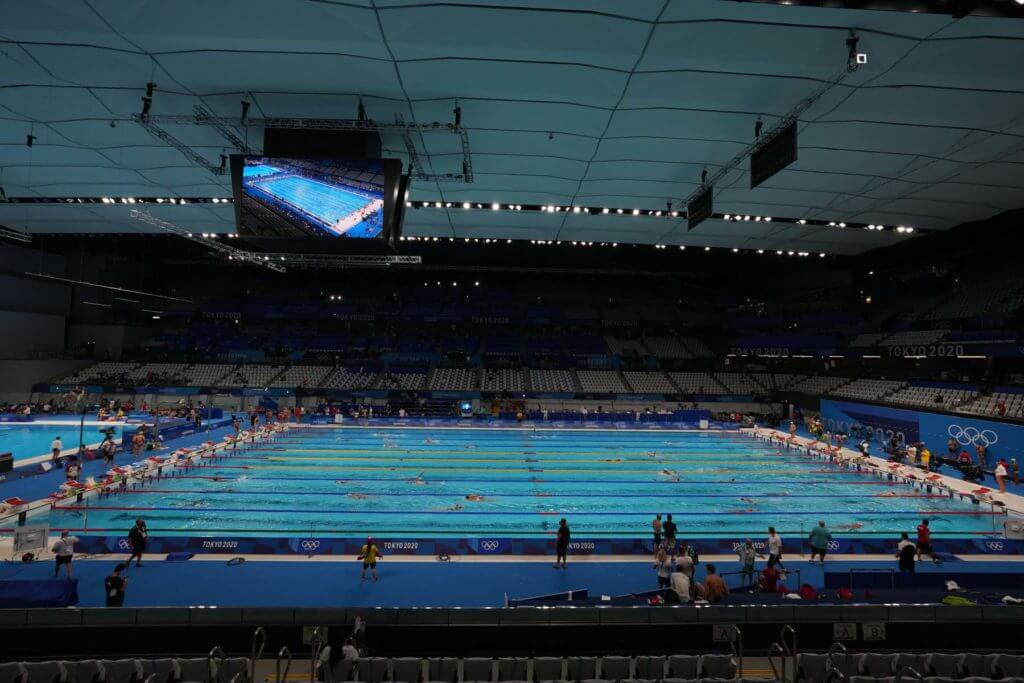 Jul 23, 2021; Tokyo, JAPAN; A general overall view of the Tokyo Aquatics Centre, the venue for swimming and diving during the Tokyo 2020 Summer Olympic Games. Mandatory Credit: Kirby Lee-USA TODAY Network
