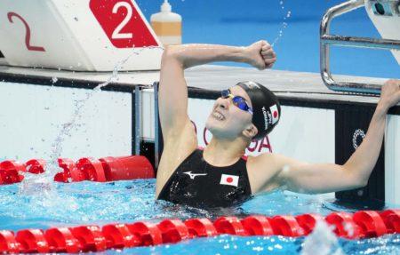 Jul 25, 2021; Tokyo, Japan; Yui Ohashi (JPN) celebrates after winning the women's 400m individual medley final during the Tokyo 2020 Olympic Summer Games at Tokyo Aquatics Centre. Mandatory Credit: Robert Hanashiro-USA TODAY Network