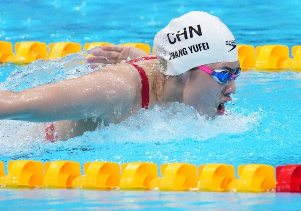 Jul 27, 2021; Tokyo, Japan; Zhang Yufei (CHN) in the women's 200m butterfly heats during the Tokyo 2020 Olympic Summer Games at Tokyo Aquatics Centre. Mandatory Credit: Robert Hanashiro-USA TODAY Sports