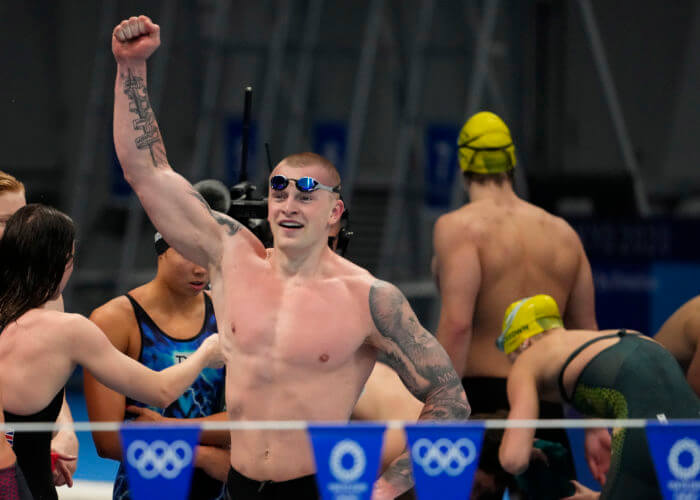 Jul 31, 2021; Tokyo, Japan; Adam Peaty (GBR) celebrates victory in the mixed 4x100m medley relay final during the Tokyo 2020 Olympic Summer Games at Tokyo Aquatics Centre. Mandatory Credit: Rob Schumacher-USA TODAY Sports