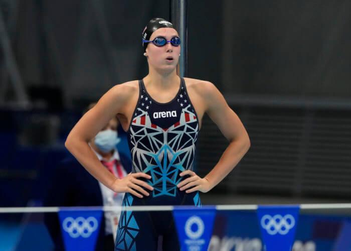 Jul 27, 2021; Tokyo, Japan; Alex Walsh (USA) before the women's 200m individual medley semifinals during the Tokyo 2020 Olympic Summer Games at Tokyo Aquatics Centre. Mandatory Credit: Rob Schumacher-USA TODAY Sports