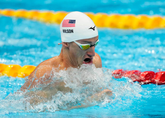 Jul 30, 2021; Tokyo, Japan; Andrew Wilson (USA) in the men's 4x100m medley heats during the Tokyo 2020 Olympic Summer Games at Tokyo Aquatics Centre. Mandatory Credit: Rob Schumacher-USA TODAY Sports