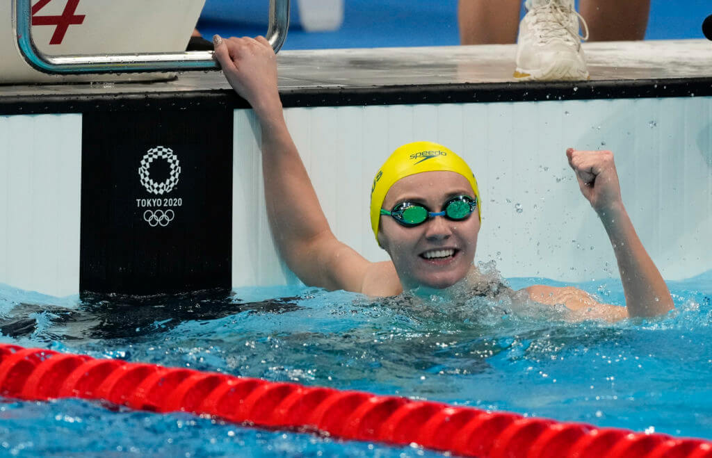 Jul 28, 2021; Tokyo, Japan; Ariarne Titmus (AUS) celebrates after the women's 200m freestyle final during the Tokyo 2020 Olympic Summer Games at Tokyo Aquatics Centre. Mandatory Credit: Rob Schumacher-USA TODAY Sports