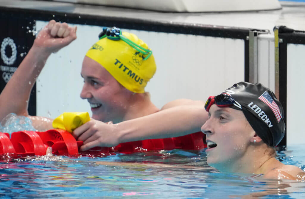 Jul 26, 2021; Tokyo, Japan; Katie Ledecky (USA) reacts after finishing second to Ariarne Titmus (AUS) in the women's 400m freestyle final during the Tokyo 2020 Olympic Summer Games at Tokyo Aquatics Centre. Mandatory Credit: Robert Hanashiro-USA TODAY Sports