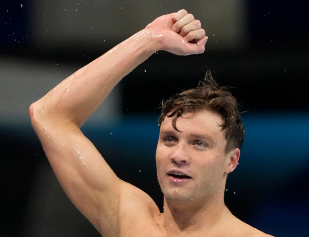 Jul 29, 2021; Tokyo, Japan; Robert Finke (USA) reacts after winning the men's 800m freestyle final during the Tokyo 2020 Olympic Summer Games at Tokyo Aquatics Centre. Mandatory Credit: Rob Schumacher-USA TODAY Sports-olympic