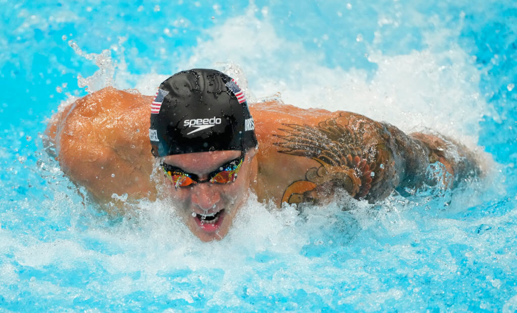 Jul 30, 2021; Tokyo, Japan; Caeleb Dressel (USA) in the men's 100m butterfly semifinals during the Tokyo 2020 Olympic Summer Games at Tokyo Aquatics Centre. Mandatory Credit: Rob Schumacher-USA TODAY Sports