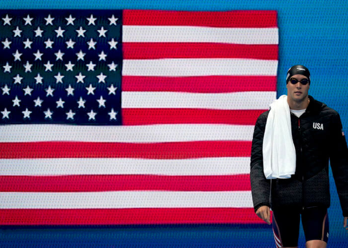 Jul 31, 2021; Tokyo, Japan; Caeleb Dressel (USA) walks out to compete in the men's 100m butterfly final during the Tokyo 2020 Olympic Summer Games at Tokyo Aquatics Centre. Mandatory Credit: Grace Hollars-USA TODAY Sports