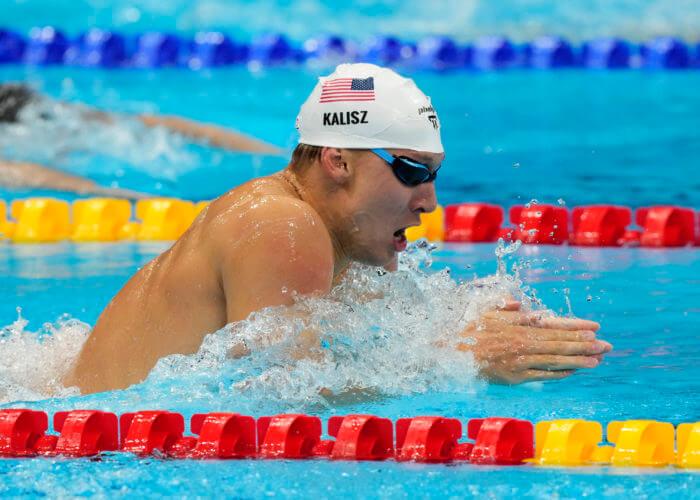 Jul 29, 2021; Tokyo, Japan; Chase Kalisz (USA) in the men's 200m individual medley semifinals during the Tokyo 2020 Olympic Summer Games at Tokyo Aquatics Centre. Mandatory Credit: Rob Schumacher-USA TODAY Sports