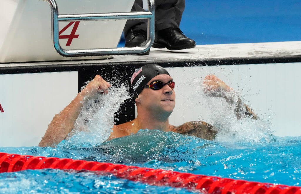 Aug 1, 2021; Tokyo, Japan; Caeleb Dressel (USA) celebrates after winning the men's 50m freestyle final during the Tokyo 2020 Olympic Summer Games at Tokyo Aquatics Centre. Mandatory Credit: Rob Schumacher-USA TODAY Sports