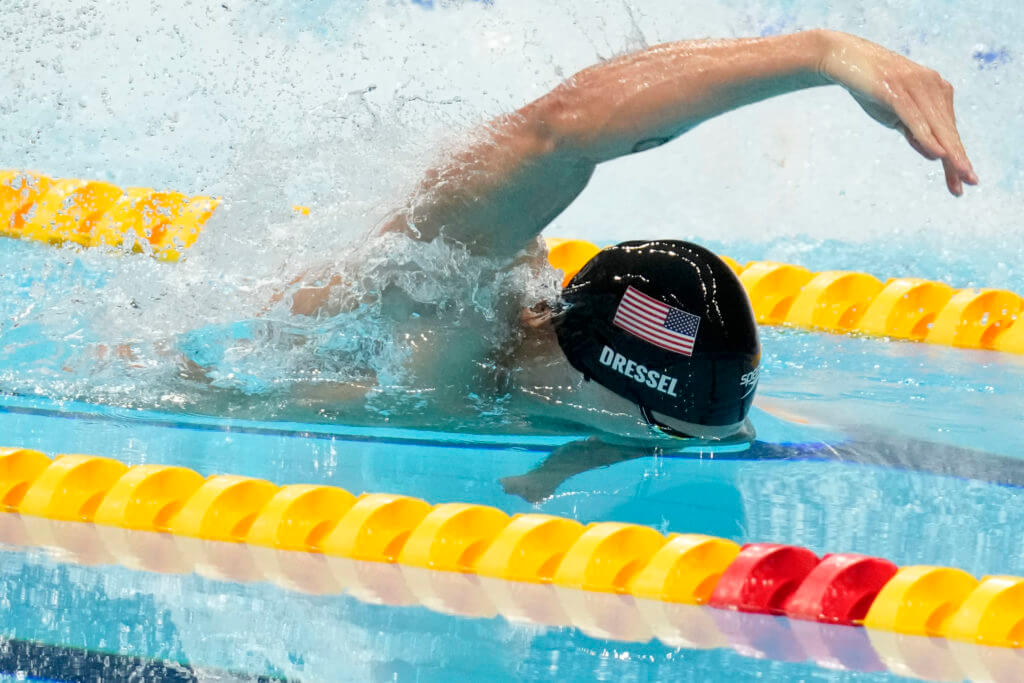 Aug 1, 2021; Tokyo, Japan; Caeleb Dressel (USA) competes in the men's 50m freestyle final during the Tokyo 2020 Olympic Summer Games at Tokyo Aquatics Centre. Mandatory Credit: Robert Hanashiro-USA TODAY Sports