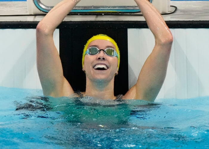 Jul 30, 2021; Tokyo, Japan; Emma McKeon (AUS) celebrates after winning the women's 100m freestyle final during the Tokyo 2020 Olympic Summer Games at Tokyo Aquatics Centre. Mandatory Credit: Rob Schumacher-USA TODAY Sports