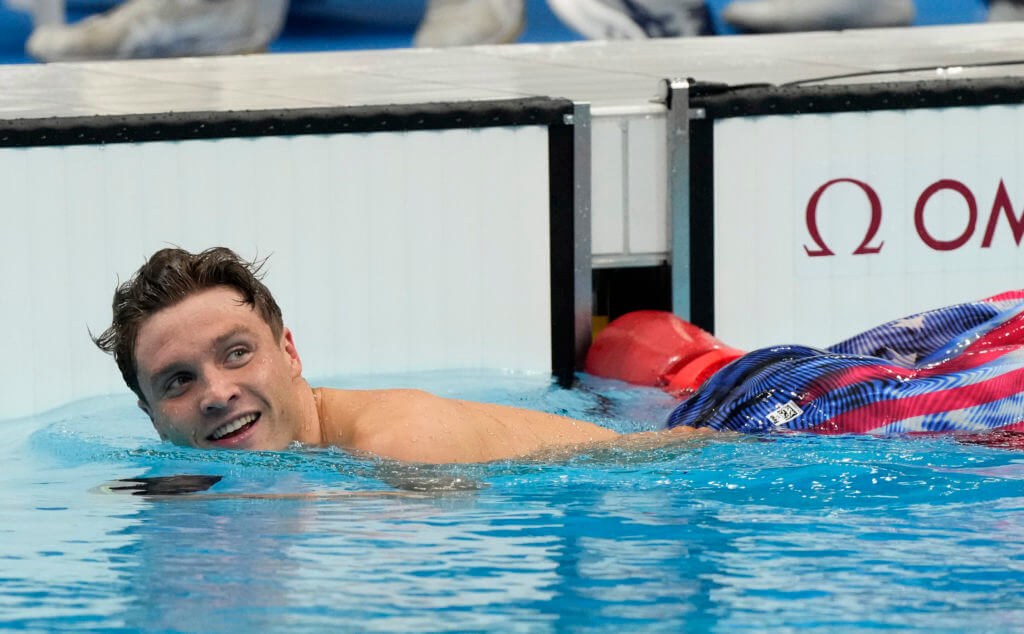 Jul 29, 2021; Tokyo, Japan; Robert Finke (USA) celebrates after winning in the men's 800m freestyle final during the Tokyo 2020 Olympic Summer Games at Tokyo Aquatics Centre. Mandatory Credit: Rob Schumacher-USA TODAY Sports