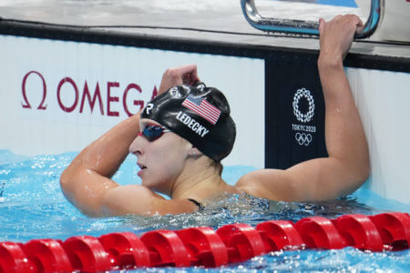 Jul 27, 2021; Tokyo, Japan; Katie Ledecky (USA) after the women's 200m freestyle semifinals during the Tokyo 2020 Olympics. Mandatory Credit: Robert Hanashiro-USA TODAY Sports