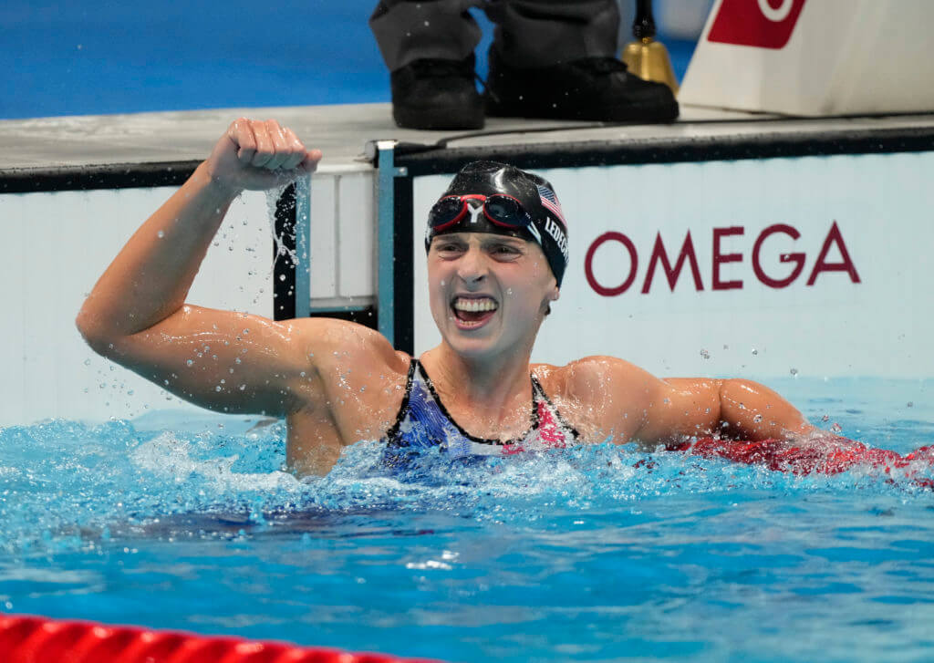 Jul 28, 2021; Tokyo, Japan; Katie Ledecky (USA) celebrates after winning the women's 1500m freestyle final during the Tokyo 2020 Olympic Summer Games at Tokyo Aquatics Centre. Mandatory Credit: Rob Schumacher-USA TODAY Sports