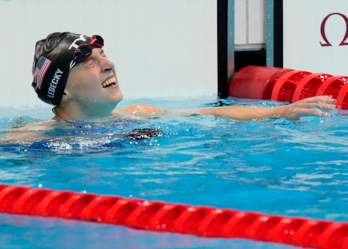 Jul 31, 2021; Tokyo, Japan; Katie Ledecky (USA) reacts after winning the women's 800m freestyle final during the Tokyo 2020 Olympic Summer Games at Tokyo Aquatics Centre. Mandatory Credit: Rob Schumacher-USA TODAY Sports