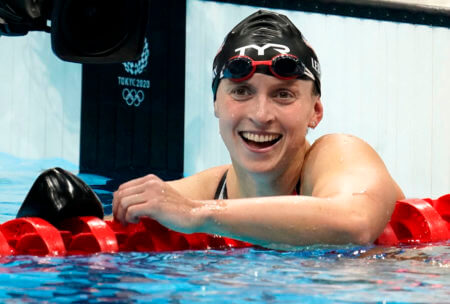 Jul 31, 2021; Tokyo, Japan; Katie Ledecky (USA) reacts after winning the women's 800m freestyle final during the Tokyo 2020 Olympic Summer Games at Tokyo Aquatics Centre. Mandatory Credit: Grace Hollars-USA TODAY Sports