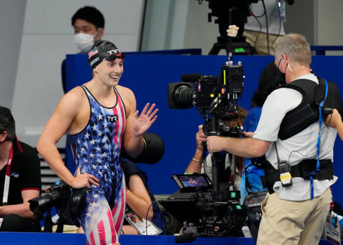 Jul 31, 2021; Tokyo, Japan; Katie Ledecky (USA) after winning the women's 800m freestyle final during the Tokyo 2020 Olympic Summer Games at Tokyo Aquatics Centre. Mandatory Credit: Rob Schumacher-USA TODAY Sports