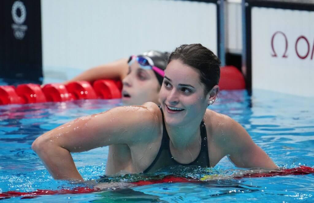 Jul 27, 2021; Tokyo, Japan; Kaylee McKeown (AUS) after winning the women's 100m backstroke final during the Tokyo 2020 Olympic Summer Games at Tokyo Aquatics Centre. Mandatory Credit: Robert Hanashiro-USA TODAY Sports