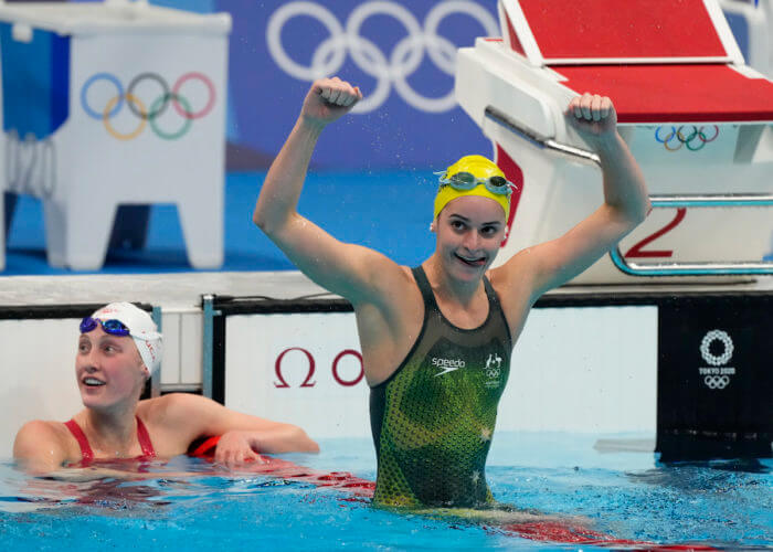 kaylee mckeown, olympics, Jul 31, 2021; Tokyo, Japan; Kaylee McKeown (AUS) celebrates after winning the women's 200m backstroke final during the Tokyo 2020 Olympic Summer Games at Tokyo Aquatics Centre. Mandatory Credit: Rob Schumacher-USA TODAY Sports