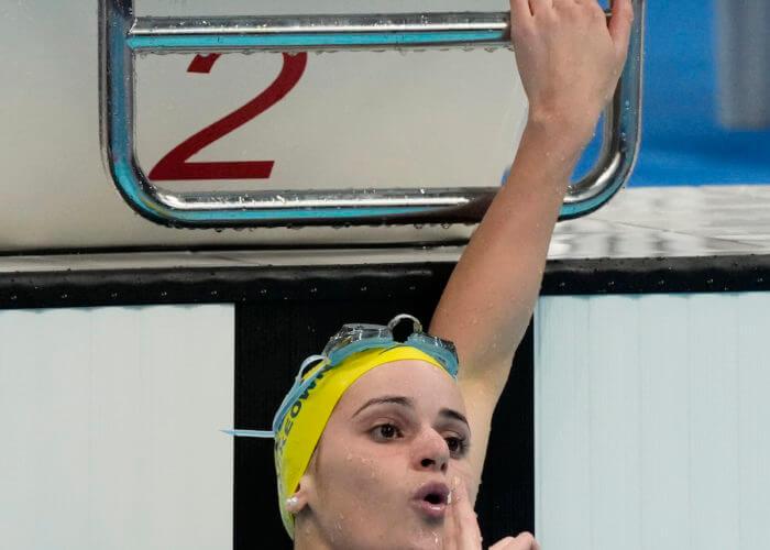 Jul 31, 2021; Tokyo, Japan; Kaylee McKeown (AUS) celebrates after winning the women's 200m backstroke final during the Tokyo 2020 Olympic Summer Games at Tokyo Aquatics Centre. Mandatory Credit: Rob Schumacher-USA TODAY Sports