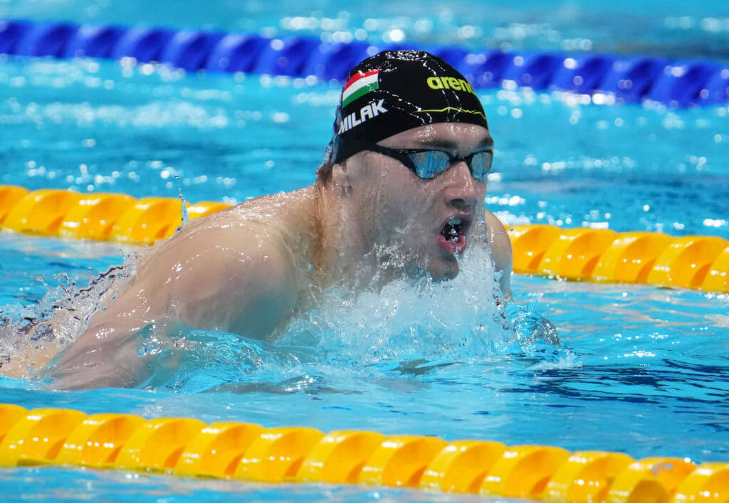 Jul 27, 2021; Tokyo, Japan; Kristof Milak (HUN) in the men's 200m butterfly semifinals during the Tokyo 2020 Olympic Summer Games at Tokyo Aquatics Centre. Mandatory Credit: Robert Hanashiro-USA TODAY Sports
